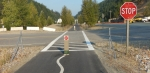 Coeur d'Alene Trail ID, Awareness of cyclists, Marked bike lane through intersection ©Photograph by H-JEH Becker, 2012