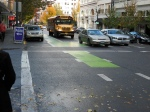 Portland OR, Sections of bike lane coloured to highlight where cyclists will be approaching and passing through the intersection  ©Photograph by H-JEH Becker, 2012 ©Photograph by H-JEH Becker, 2012