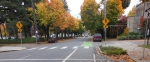 Portland OR, Bike lane coloured through intersection© Photograph by H-JEH Becker, 2012