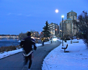 Calgary AB, Winter Cyclist, Bow River Bike Trail, West of Downtown, Evening Winter Cycling Commute Home©Photograph by J Chong, 2012