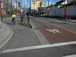 Vancouver, Carrall Greenway Separated Bike Lanes Sections of Cycle Tracks and Bike Paths on Road Shoulder ©Photograph by H-JEH Becker, 2013