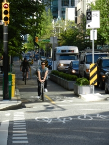 Vancouver, Hornby St Separated Bike Lanes ©Photograph by H-JEH Becker, 2013