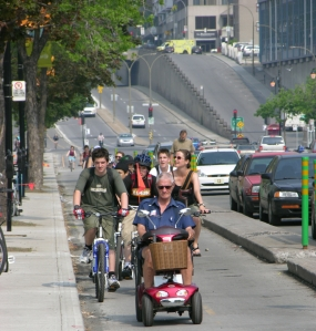 Montreal QC, Berri St Separated Bike Lanes Curb and Post Separation ©Photograph by H-JEH Becker, 2013